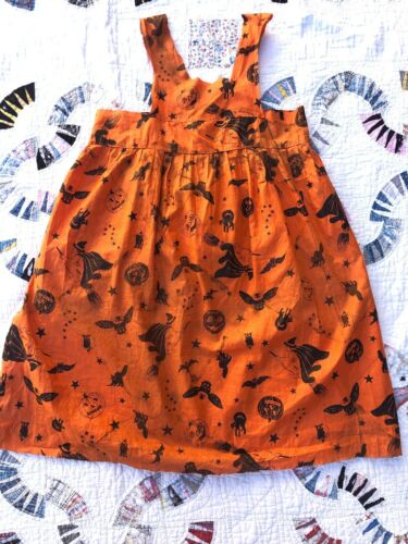 Antique 1930s Halloween Dress Witch Bat Cat Owl Co