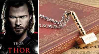 "Retro Thor The Dark World Review"" Loki's Hammer ""Unique Alloy Golden ID Necklace"