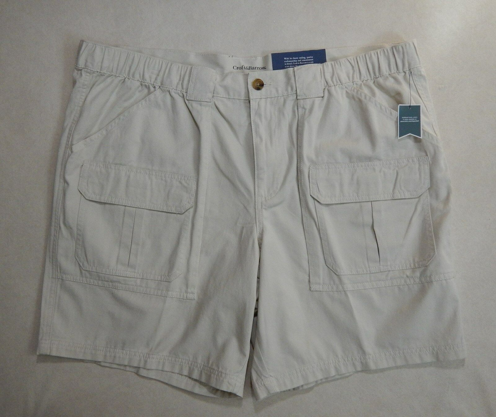 NEW Croft /& Barrow Mens Relaxed Side Elastic Shorts Big /& Tall Many Colors 46-52