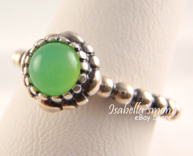 7c70bebc0 MAY BIRTHDAY BLOOMS Genuine PANDORA Silver/GREEN CHRYSOPRASE STONE Ring  5/50 NEW