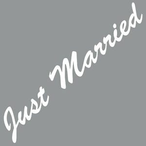 Just-Married-55cm-Blanc-Autocollant-Tatouage-Deco-Film-Voiture-Arriere-Vitre