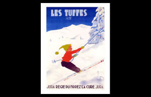 Skiing France LES TUFFES JURA Ski Boy Vintage c.1950 French Alps POSTER Reprint