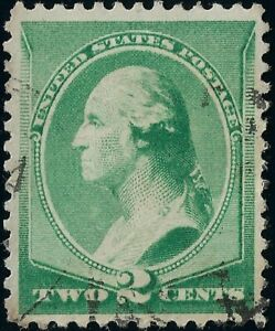 1887-Green-2-CENT-WASHINGTON-Stamp-Hinged-Lite-Fancy-Cancel-VF-NG-US-213-Jumbo