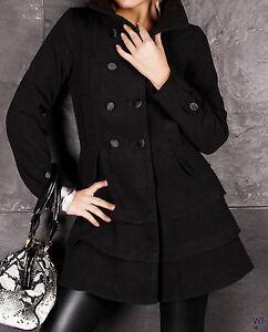 the best attitude c9b9b 22c50 Details zu Mantel Jacke Volant schwarz 34 S Damen halblang weich Wolle  Kurzmantel