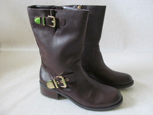 VINCE CAMUTO BROWN LEATHER BUCKLE MOTO BOOTS SIZE 8 1 2 M - NEW