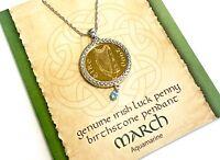 Irish Lucky Penny Birthstone Pendant Necklace - March, Aquamarine Crystal