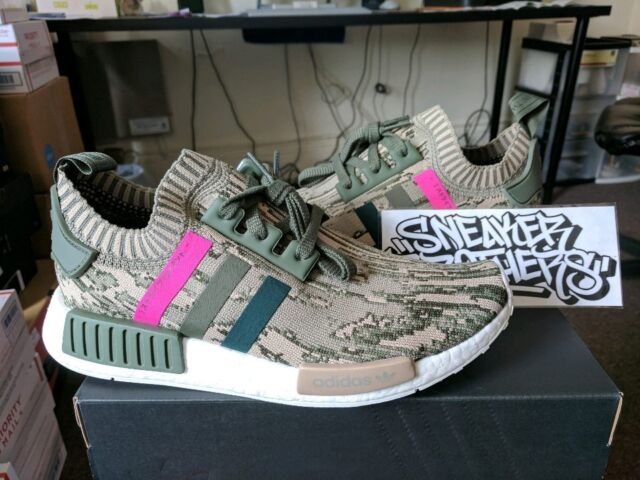 624ae09b3 Adidas NMD R1 PK W Women Primeknit Green Night Shock Pink Glitch Camo BY9864