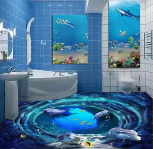 3D Mar Delfines Piso impresión de parojo de papel pintado mural 52 5D AJ Wallpaper Reino Unido Limón