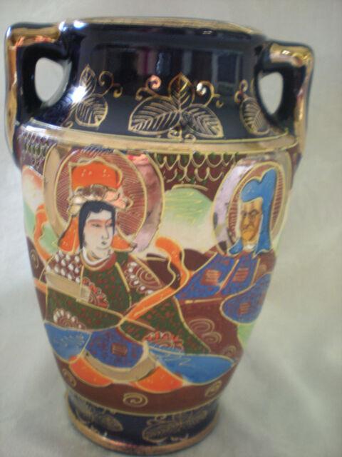 Vintage Japanese Blue Satsuma Gold Gilt Moriage Goddess Hand Painted