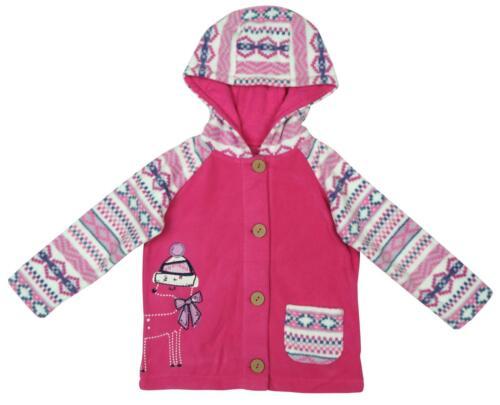 Girls Jacket Reindeer Pink Winter Fleece Hoody Top Newborn Baby to 3 Months