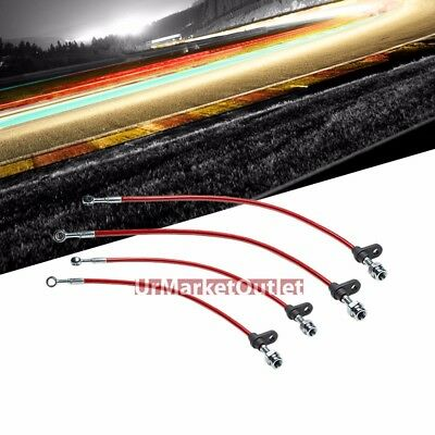 FRONT+REAR STAINLESS STEEL HOSE JDM BRAKE LINE 86-89 ACURA INTEGRA DA1//DA3 BLACK