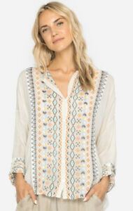 FLAW-Johnny-Was-Cenote-Top-Ivory-Embroidered-Boho-Blouse-Women-s-Plus-Sz-2X