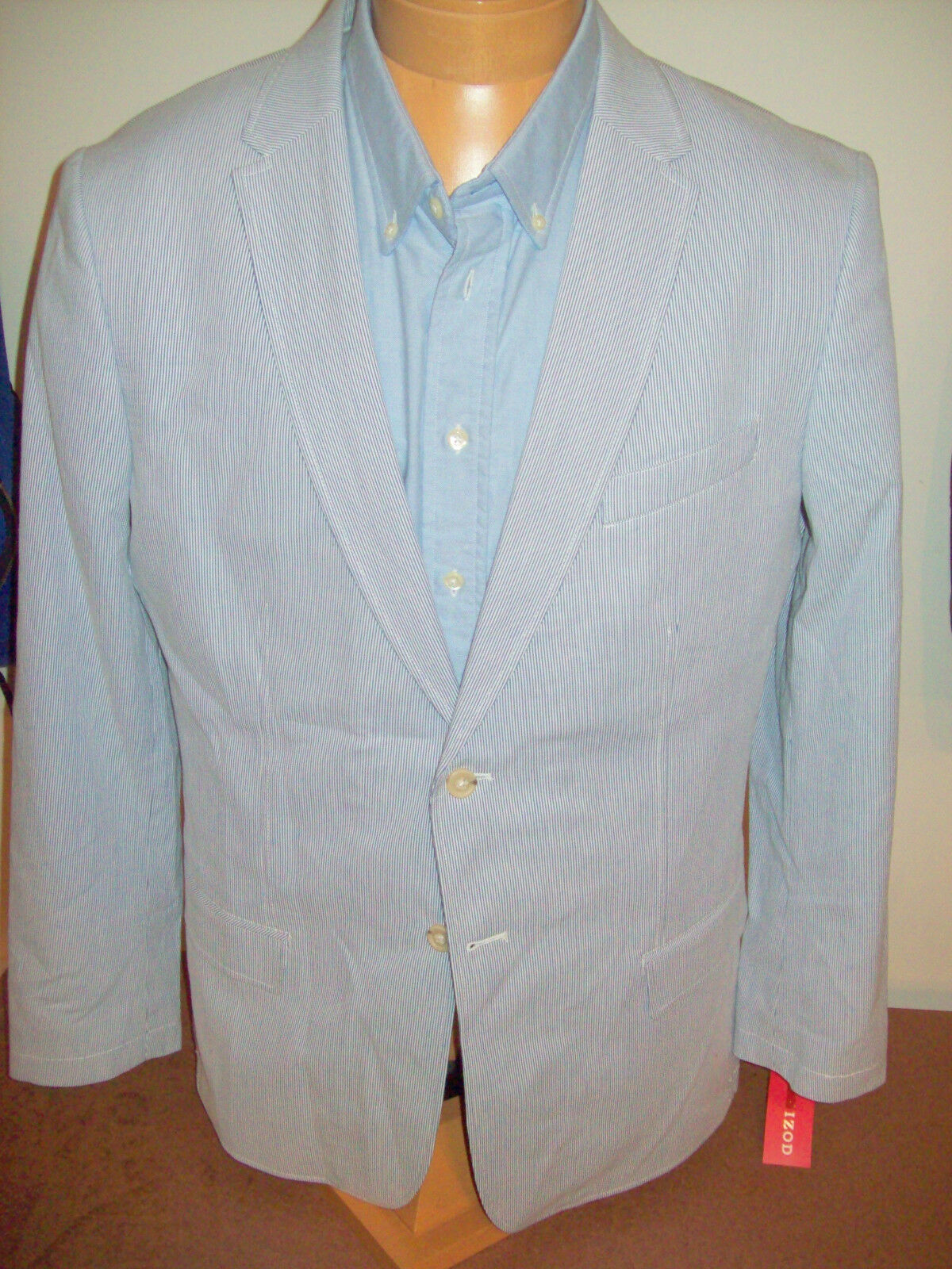 IZOD Cotton Blau and Weiß Pincord Stripe 2 Button Sport Coat NWT XL (46) 145