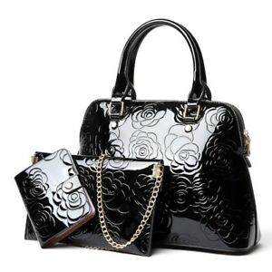 Women Leather Handbags Floral Zipper Polyester Lining Flower Chain Shoulder Bags