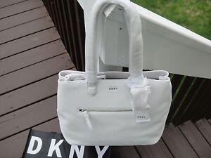 86871ebb4 bolso Nappa blanco mano de de cuero Bolso Heavy Dkny de grande grande qEpf1