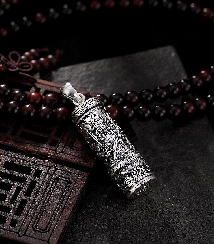 A02 Anhänger Bodhisattva Akasagarbha Amulett zum Öffnen Feinsilver silver 990
