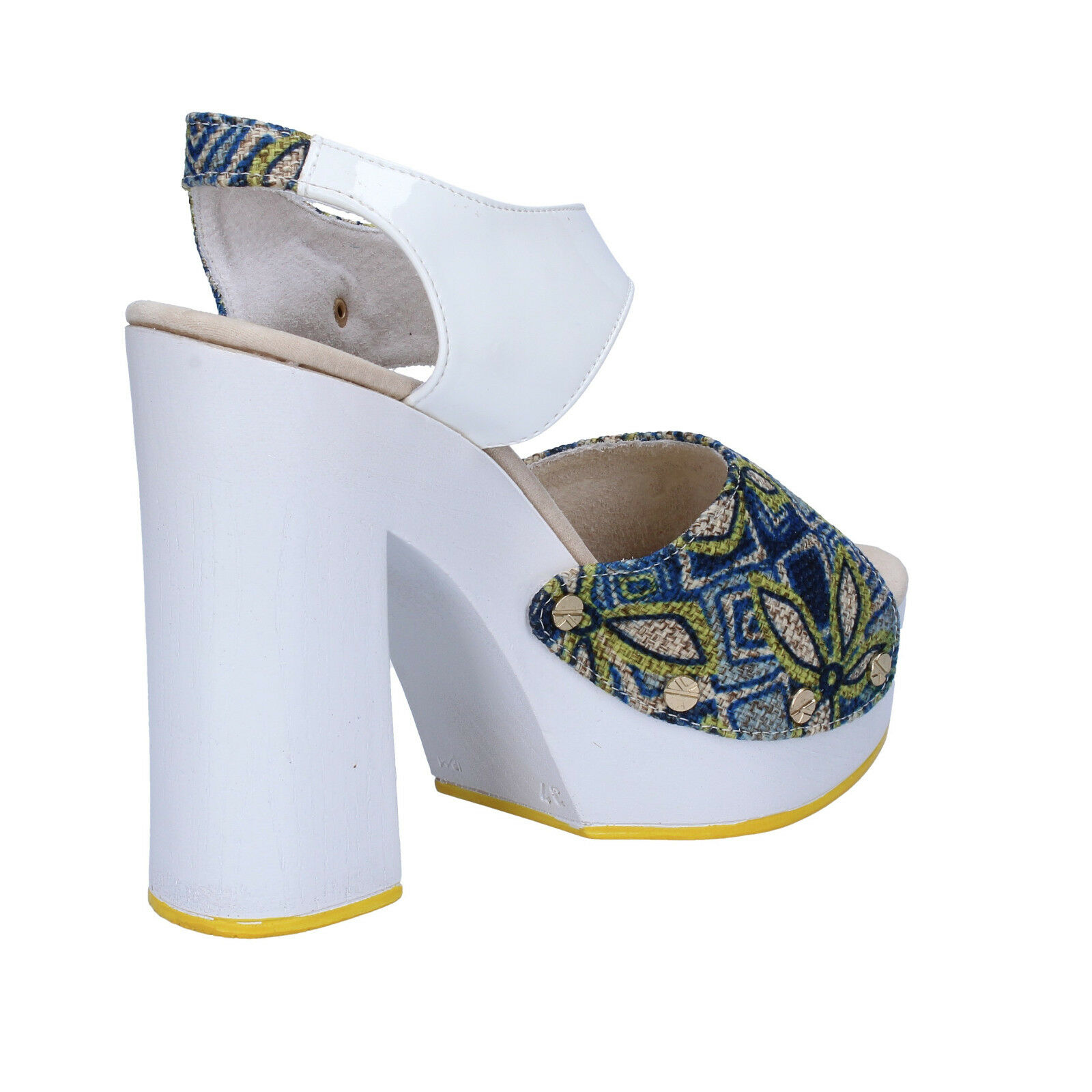 scarpe donna SUKY BRAND BRAND BRAND 37 sandali blu ( bianco ) tessuto vernice AC487-C 10c987