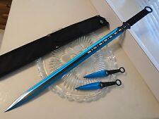 Fantasy Master Blue Titanium Dual Edge Sword Throwing Knife Kunai 3 Pc Set 644BL