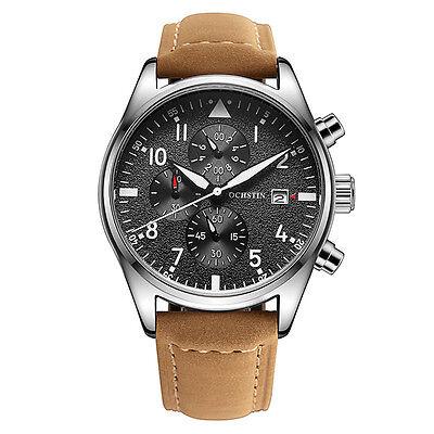 OCHSTIN New Men Unique Chronograph Wristwath Sport Watches Quartz Leather Strap