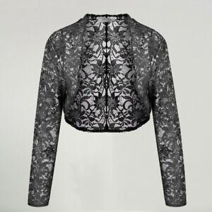 18556b30550 Bolero Shrug 3 4 Sleeve Floral Lace Open Stitch Knit Cardigan Casual ...