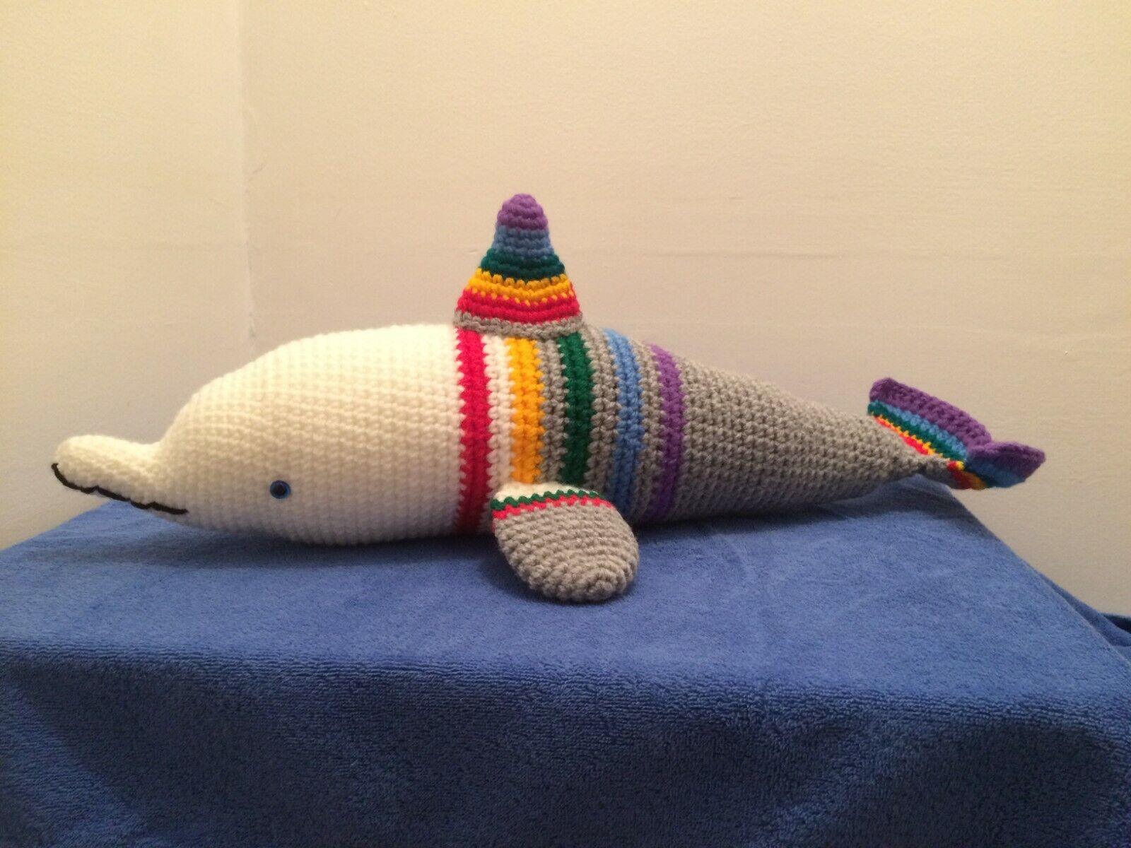 Rainbow Dolphin, Handmade Dolphin, Dolphin, Amigurumi Dolphin, Crochet Dolphin