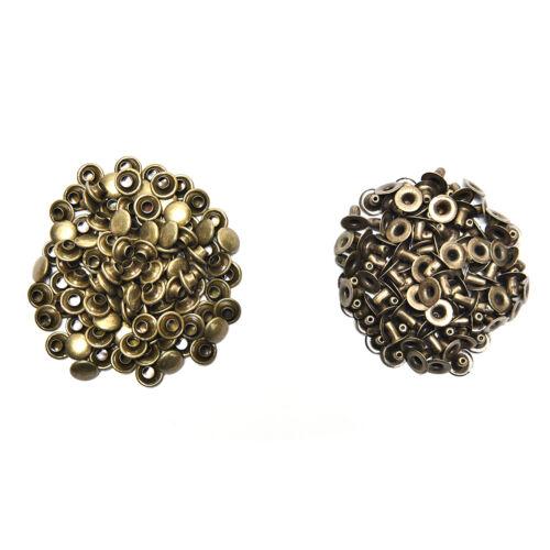 100x 3 tamaños de latón doble tapa de cuero artesanía DIY rapidniet tachuelas para gürru /_ M