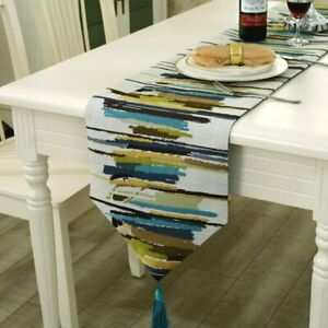 Modern-Table-Runner-Colorful-Nylon-Runner-Table-Cloth-With-Tassels-Embroidered