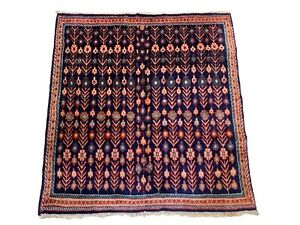 4X5-Square-Senneh-Hand-Knotted-Wool-Area-Rug-Vintage-Carpet-4-3-x-4-7