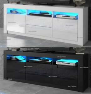 premium selection 6000c 9b2f2 Details about Modern 160cm TV Unit Cabinet TV Stand - Matt Body & High  Gloss Doors LED Light