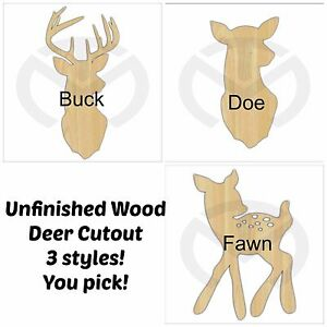 Unfinished Wood Deer Silhouette Buck Doe Or Fawn Laser Cutout Home