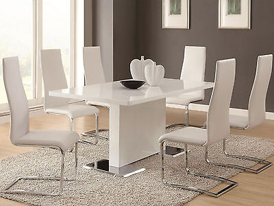 AVENITA 7 pieces Modern Dining Room Set FURNITURE Glossy White Rect Table  Chairs | eBay