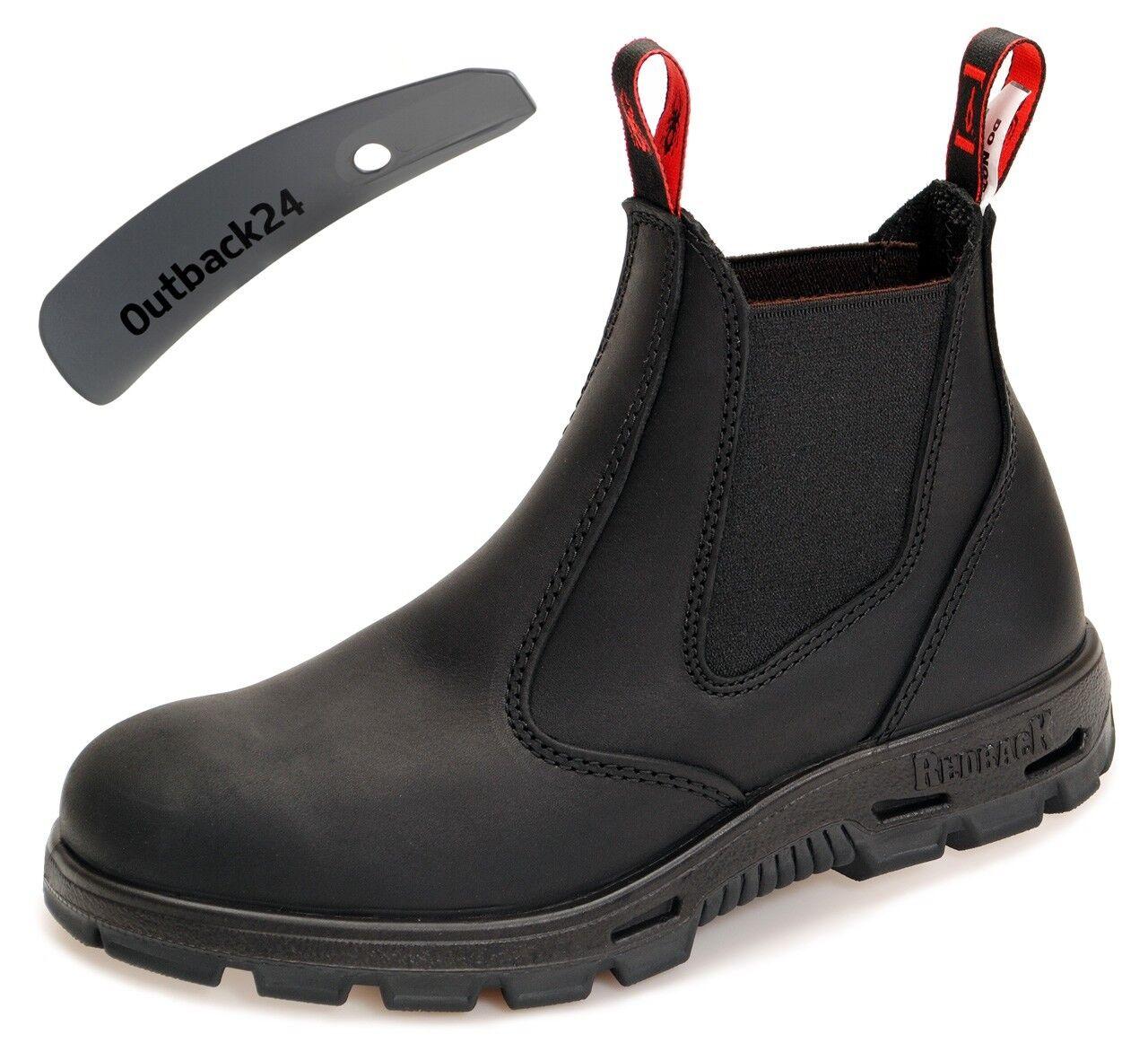 ROTback Safety Stiefel - komplett mit schwarzer Sohle BUSBBK schwarz + Schuhlöffel