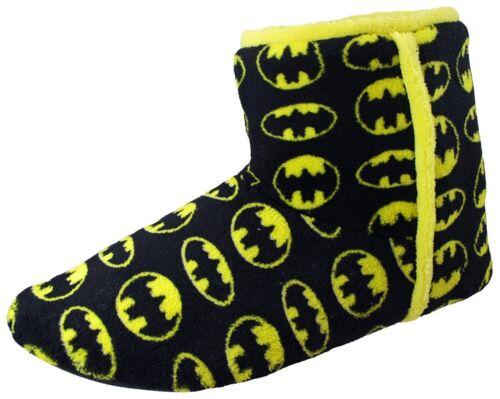 NEW Batman Boys Slipper Boots Black Yellow Novelty Boot Slippers KIDS SIZES