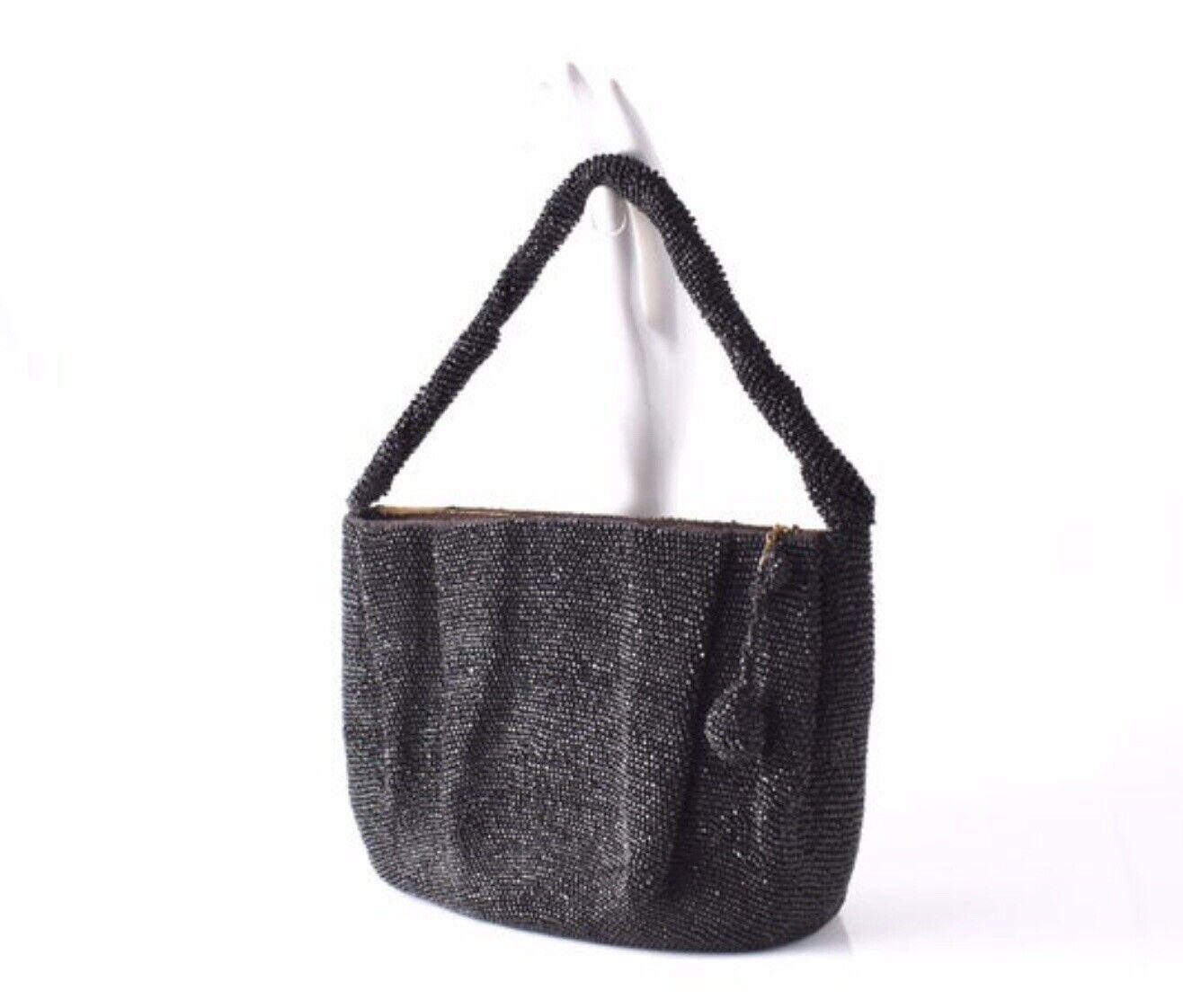 Art Deco 30s 40s Vintage Black Cut Glass Beads Ruched Beaded Handbag Purse bag