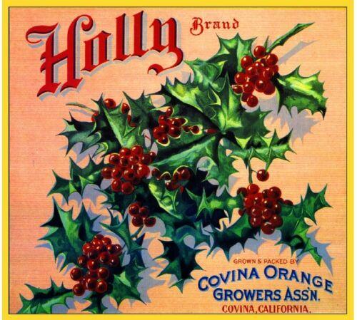 Covina Los Angeles Christmas Holly #1 Orange Citrus Fruit Crate Label Art Print