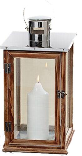 3272100-groß elegante Holz Laterne mit Dach aus Edelstahl Windlicht 45 cm
