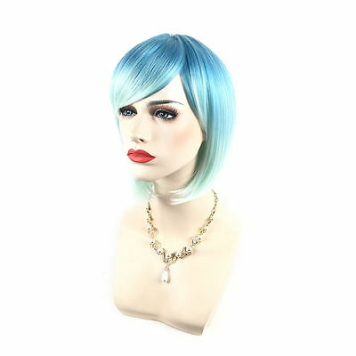 HOT Colorful Lady Lolita Bob Rainbow Wigs Short Straight Party Wig / Wig Cap US
