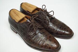 Polo-Ralph-Lauren-Brown-Alligator-Crocodile-Oxford-Captoe-Dress-Shoes-Sz-8-5D