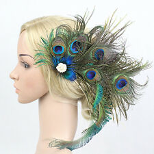 Exclusive Design Peacock Feather Hairpin Hair Clip Party Fascinator Headdress