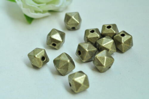 12pcs 14 Hedron Geometric Figure Bead Charm Antique Bronze Solid Necklace Craft