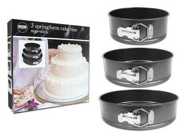 Set of 3 Non-Stick Springform Cake Tins