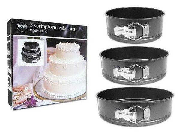 Set of 3 Non-Stick Springform Cake Tins
