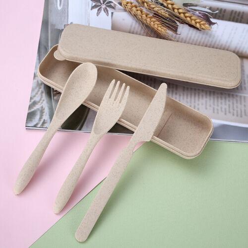 4 piece Portable Plastic Wheat Straw Fork Spoon Box Tableware Camping Picnic Set