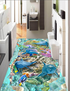 3D Papel de parojo de amistad Delfín 7 Piso Impresión De Parojo Murales Wallpaper AJ Reino Unido Limón