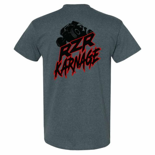 RZR Karnage Logo with RZR on top on a Dark Heather T Shirt