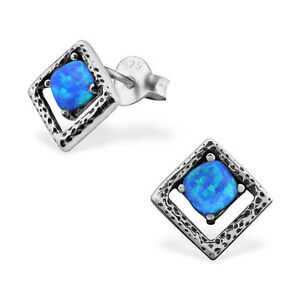 Image Is Loading 925 Sterling Silver Square Earrings Stud With Opal