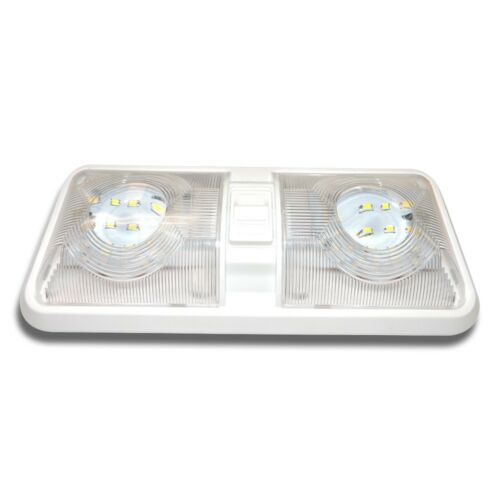 4x RV LED 12v Double Dome switched Light Ceiling Fixture Camper Trailer Marine