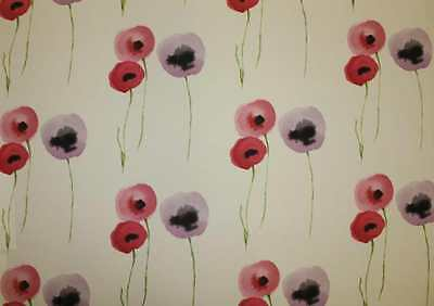 Sanderson Curtain/Upholstery Fabric Design Poppies 14 metres pink/lilac