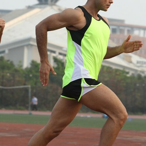 Men/'s Marathon Running Vest and Shorts Set Work Out Gym Sports Outfit Tank Top