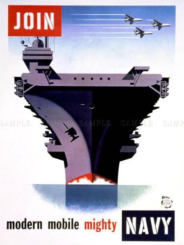 PROPAGANDA WWII WAR ENLIST NAVY AIRCRAFT CARRIER ART POSTER PRINT LV3779